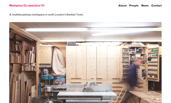 Homepage of 115.org.uk with a picture of the workshop.