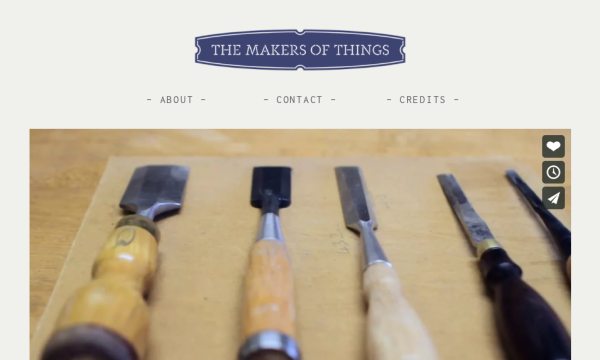 Desktop screenshot of documentary film series The Makers of Things