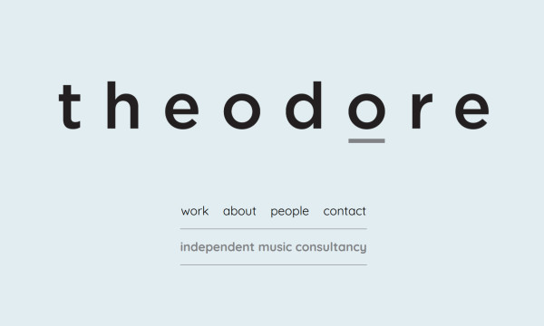 Pastel coloured homepage of simple website for Theodore music licensing
