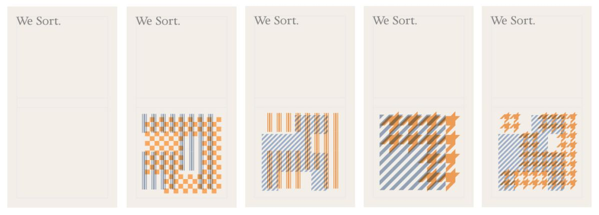 5 business cards for We Sort each with a different visual pattern.