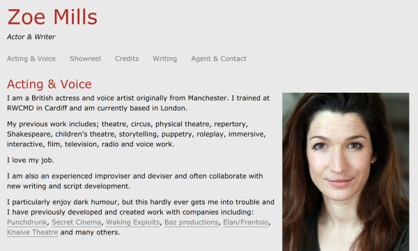Zoe Mills homepage with a headshot and some text