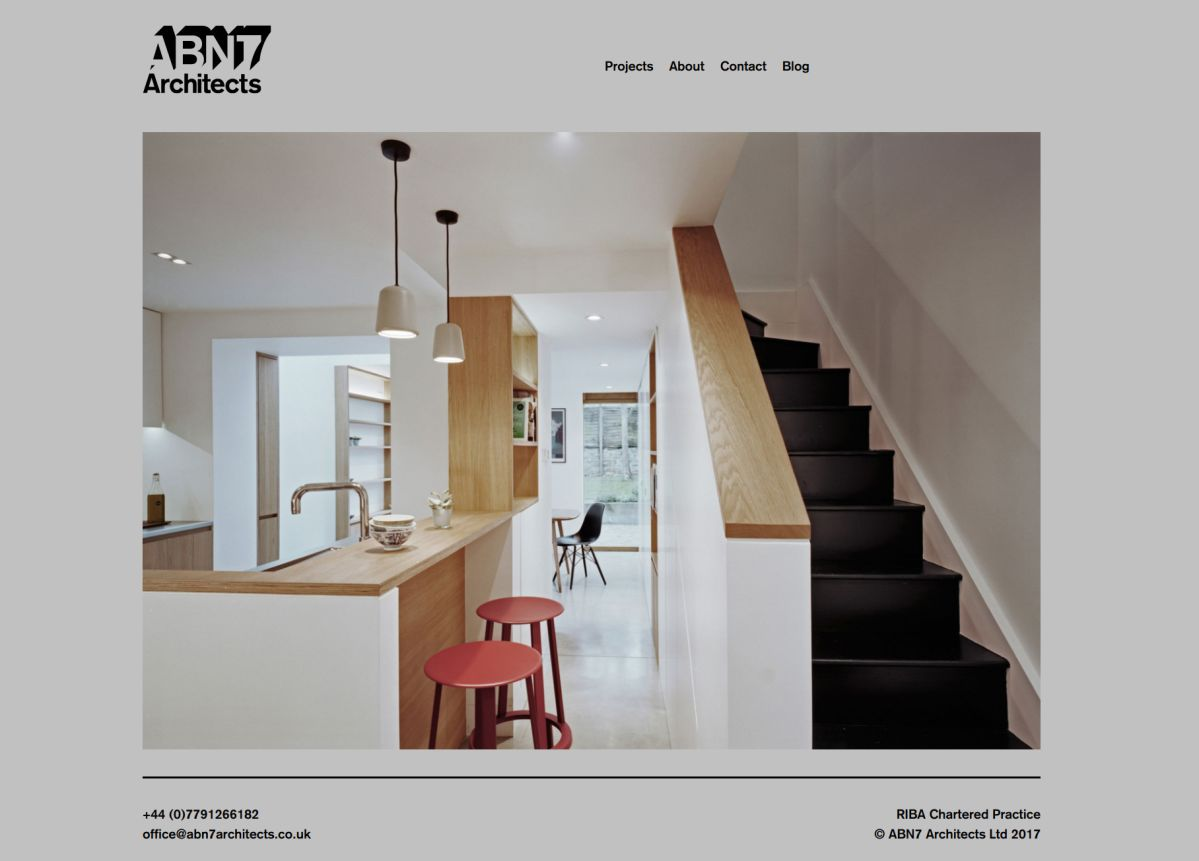 Homepage of ABN7 Architects with a greyscale design