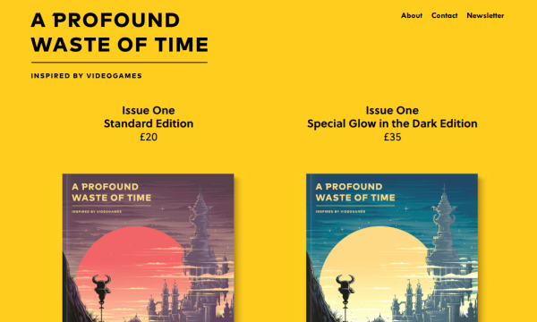 Screenshot of A Profound Waste of Time website showing two magazine covers