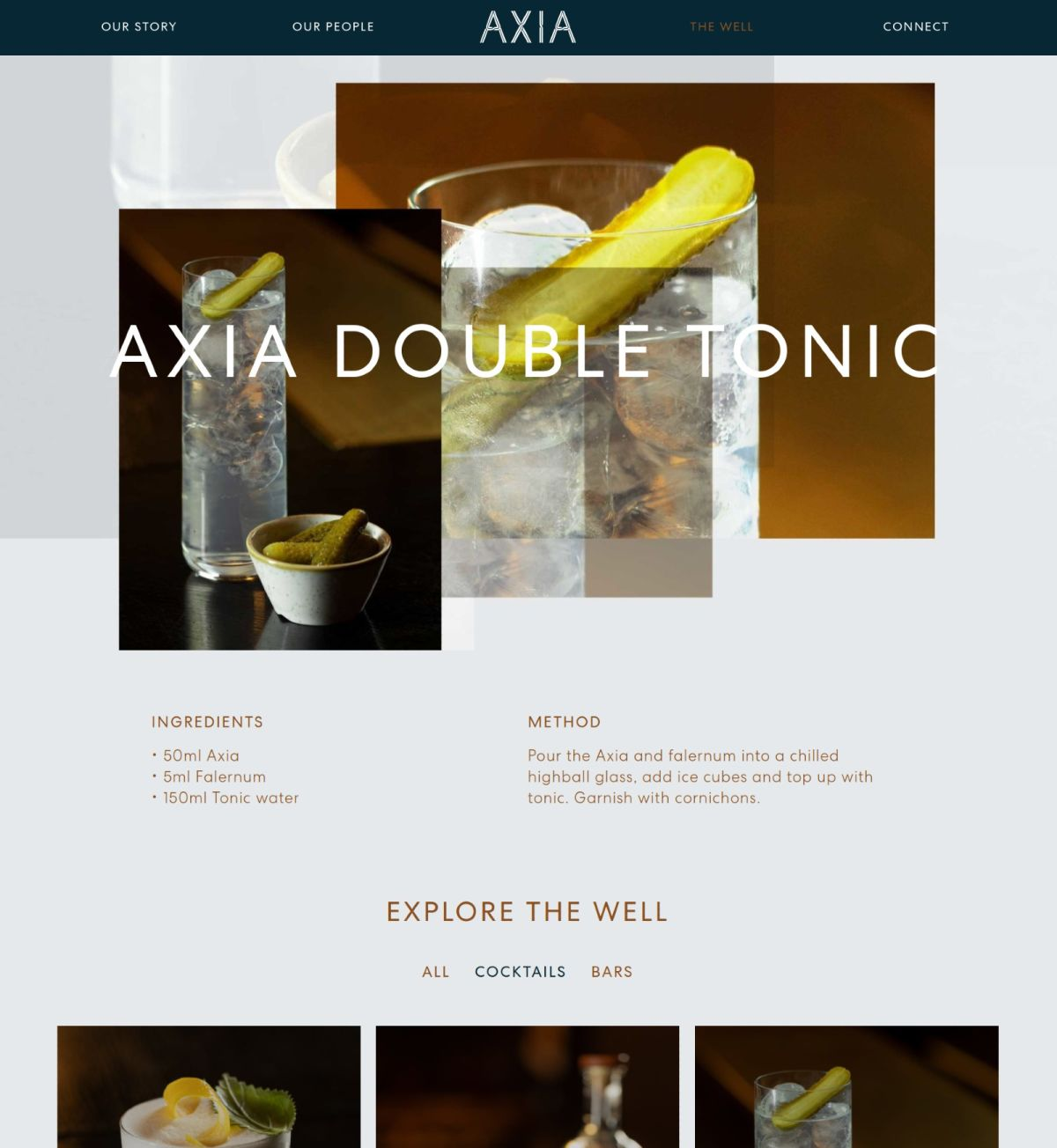 recipe for Axia spirit double tonic drink.