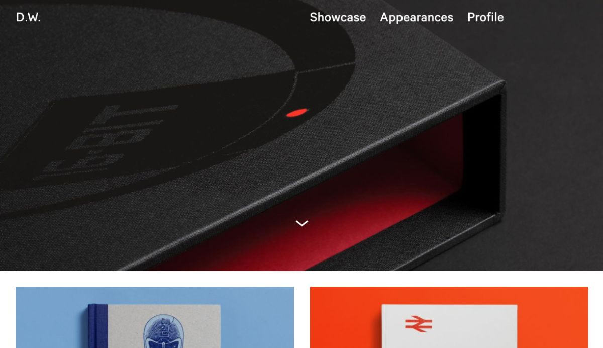 Screenshot of Darren Wall's homepage revealing some projects