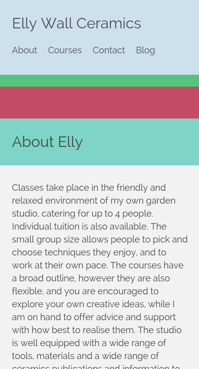 Screenshot of Elly Wall Ceramics website as it appears on a mobile device
