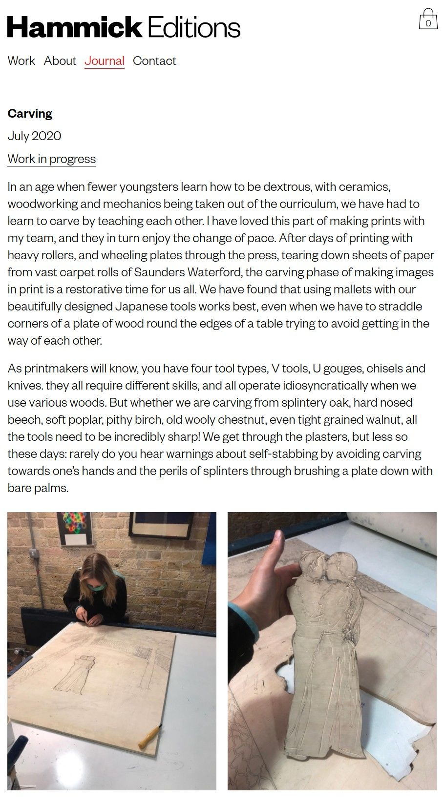 mobile view of journal post on carving for printmaking.