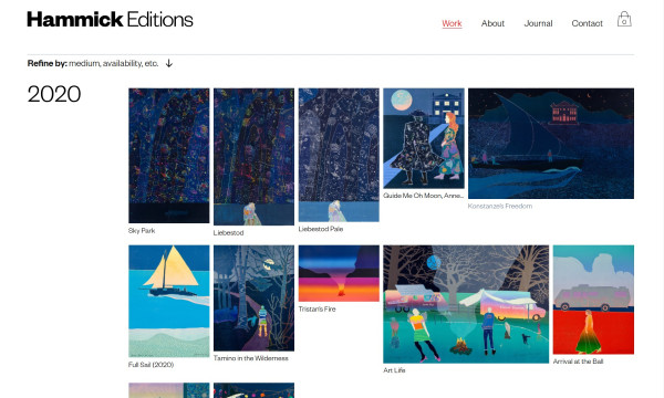 webpage showing selection of colourful artwork.