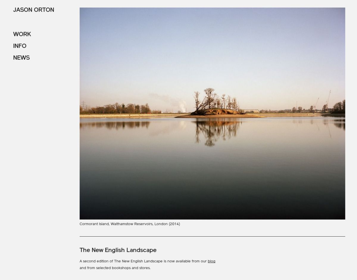 Screenshot of photographer Jason Orton's homepage as it appears on a desktop screen