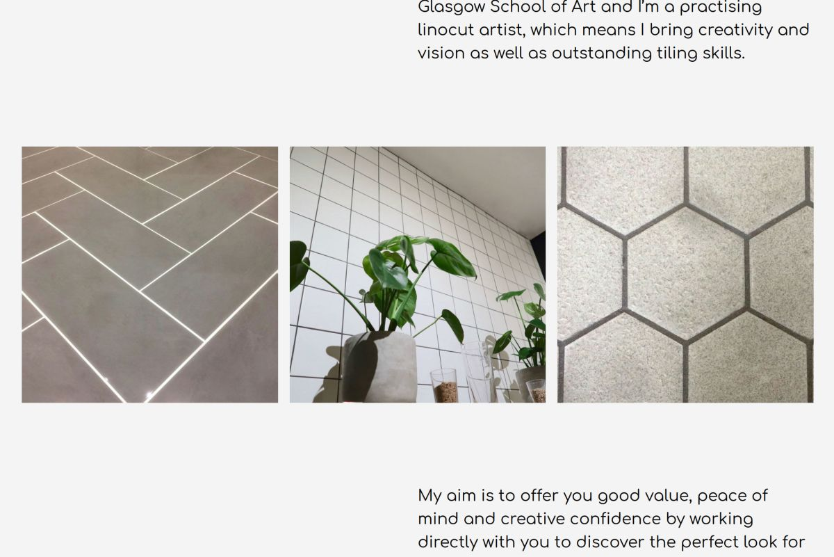 three images of modern tiling