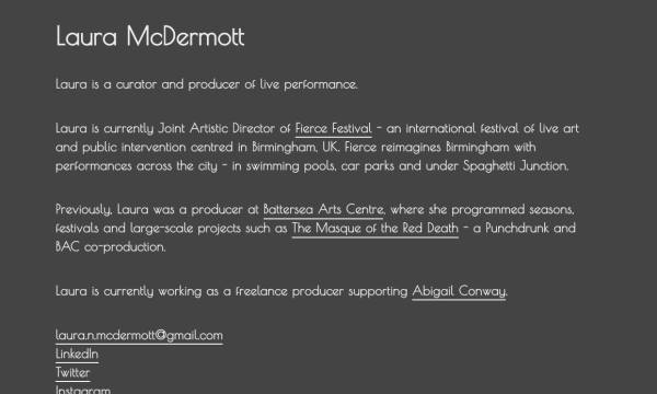 Homepage of Laura McDermott