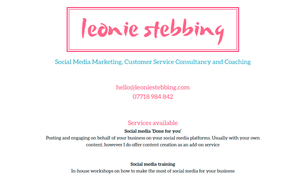 homepage of Leonie Stebbing with a white background and bright pink accents