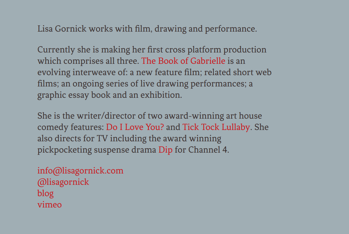 Screenshot of Lisa Gornick's previous website
