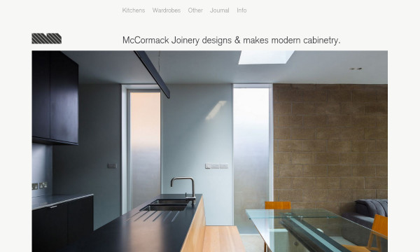 Screenshot of McCormack Joinery's homepage.