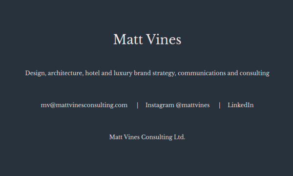 homepage of Matt Vine with dark background and light type