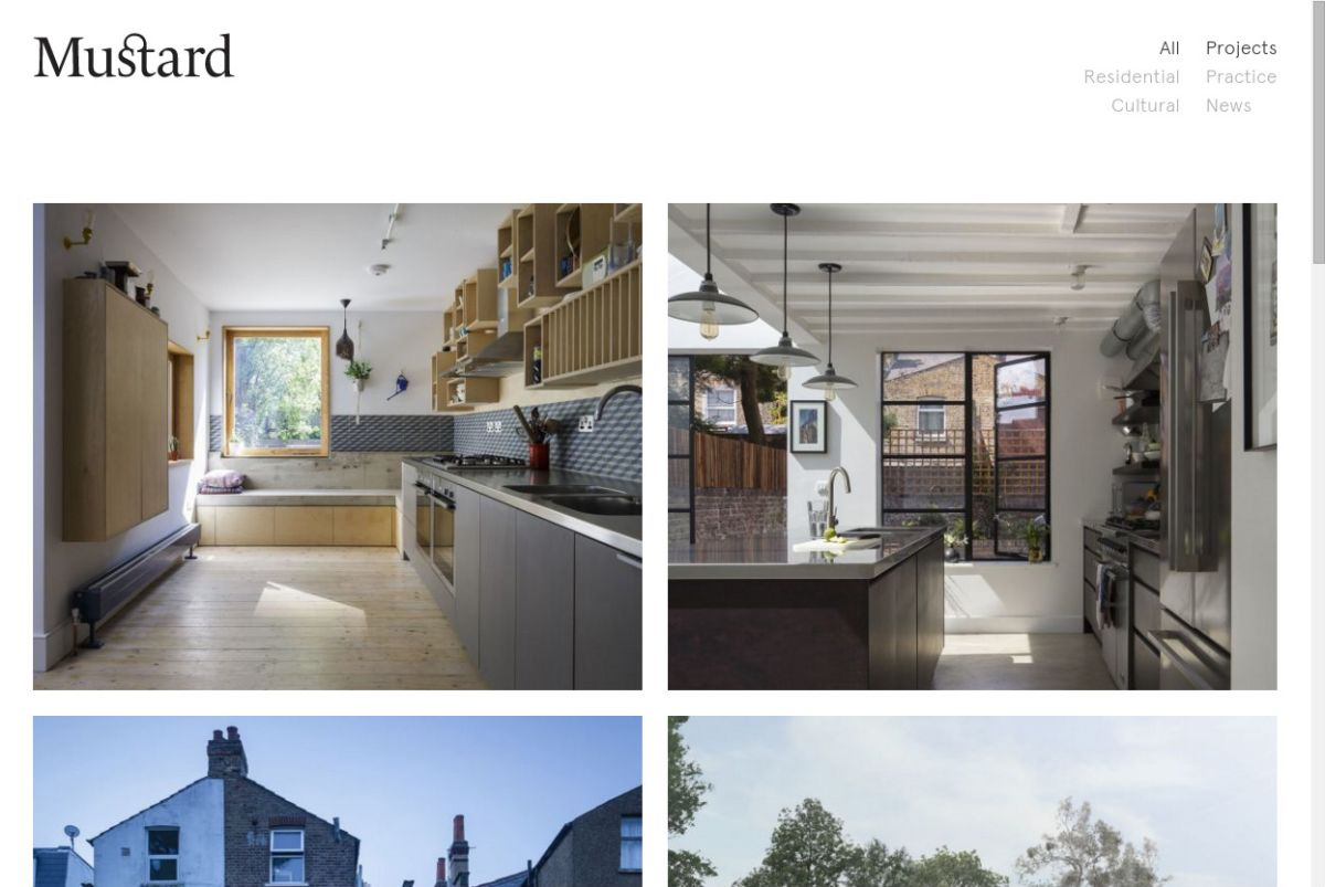 Project listing page of Mustard Architects' website