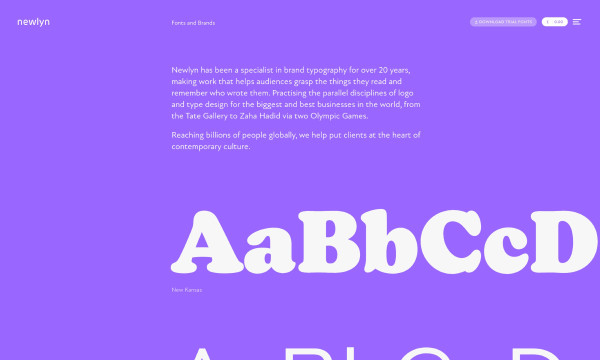 bright purple website showing fonts.