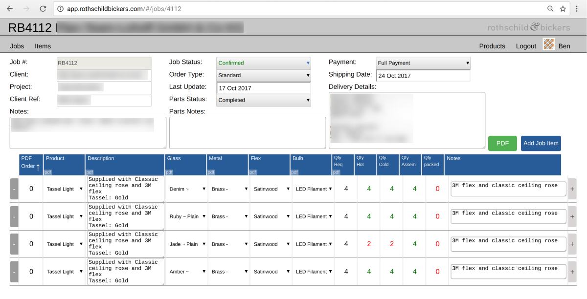 Screenshot from bespoke order management web app with details redacted