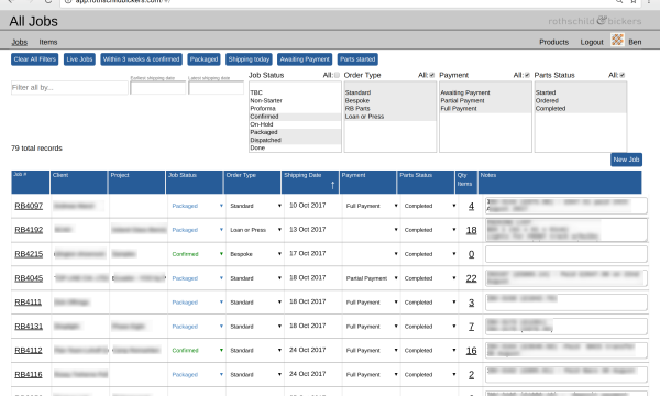 Screenshot from bespoke order management web app with details redacted .
