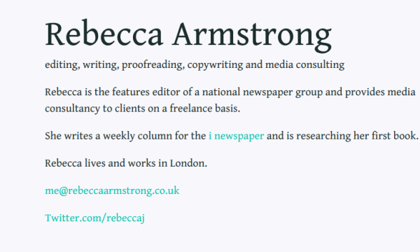 Screenshot of journalist Rebecca Armstrong's website