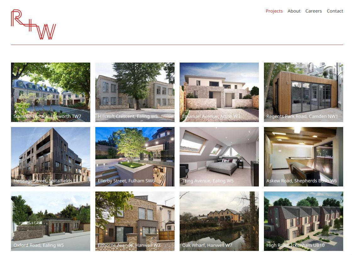 Homepage of Red + White Architects showing an array of projects