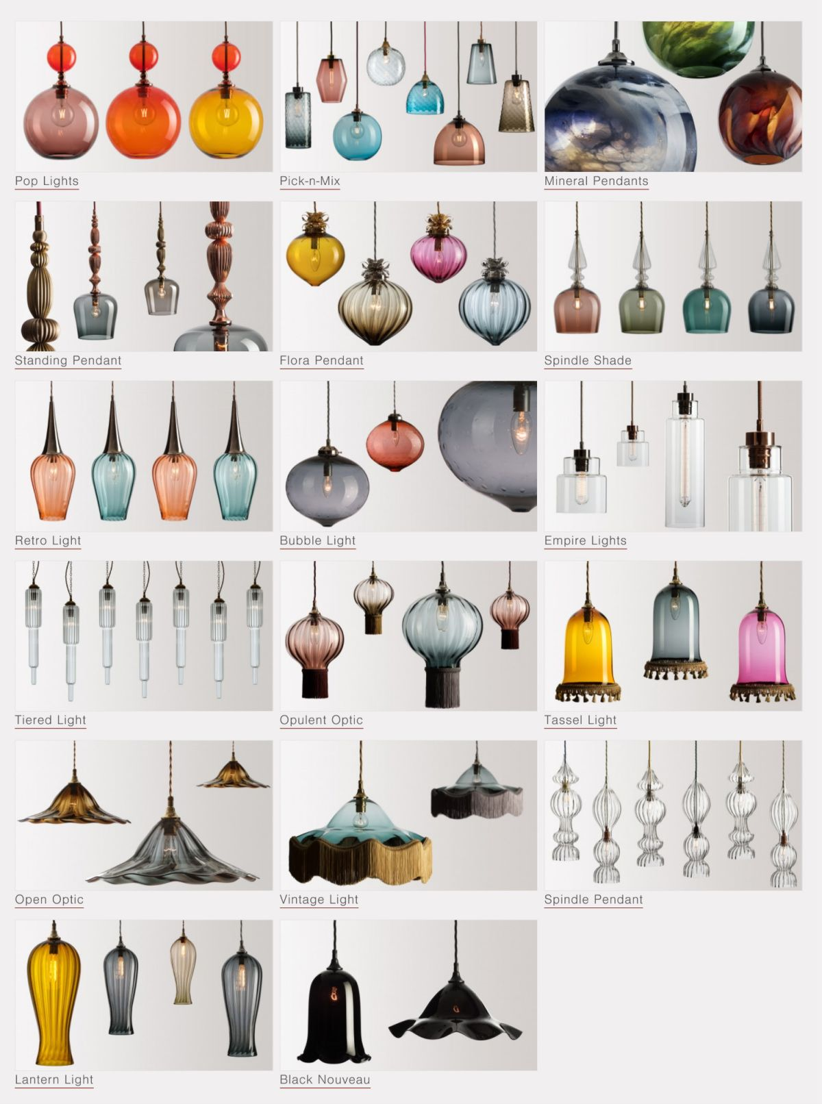 Grid of glass pendant lights in a variety of colours