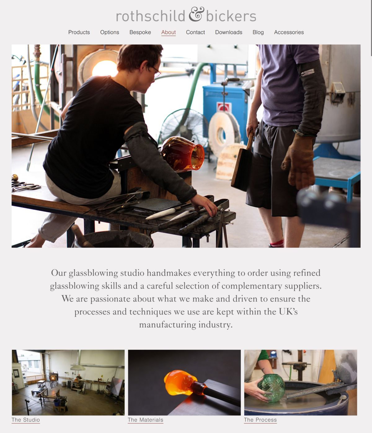 Screenshot of glassblowing studio Rothschild & Bickers' website showing a glass shade being made