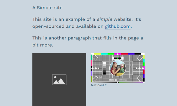 Screenshot of simple website with text and two images