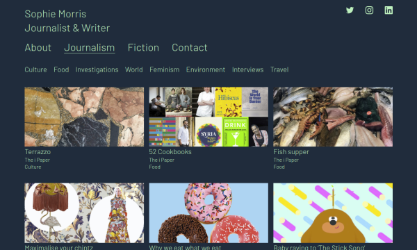 Website screenshot of journalist & writer Sophie Morris showing an array of thumbnail images.