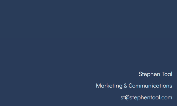 homepage of Stephen Toal with a dark blue background and bit of white type